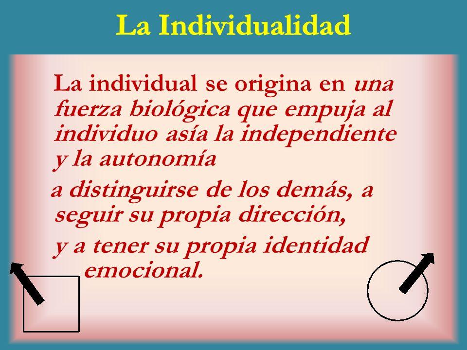 La IndividualidadLa individual se origina en una fuerza biológica que empuja al individuo asía la independiente y la autonomía.