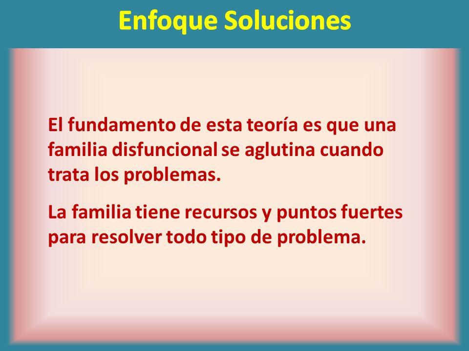 Enfoque SolucionesEl fundamento de esta teoría es que una familia disfuncional se aglutina cuando trata los problemas.