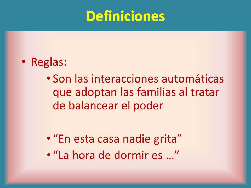 DefinicionesReglas: Son las interacciones automáticas que adoptan las familias al tratar de balancear el poder.