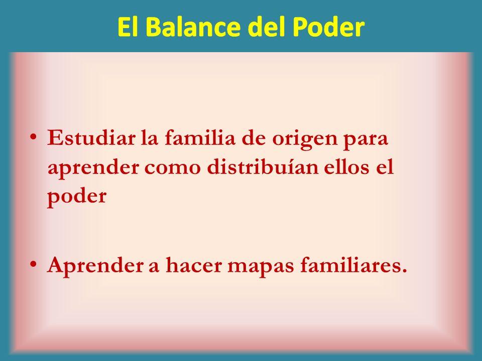 El Balance del PoderEstudiar la familia de origen para aprender como distribuían ellos el poder.