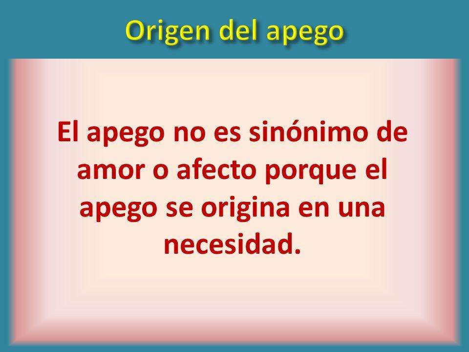 Origen del apegoEl apego no es sinónimo de amor o afecto porque el apego se origina en una necesidad.