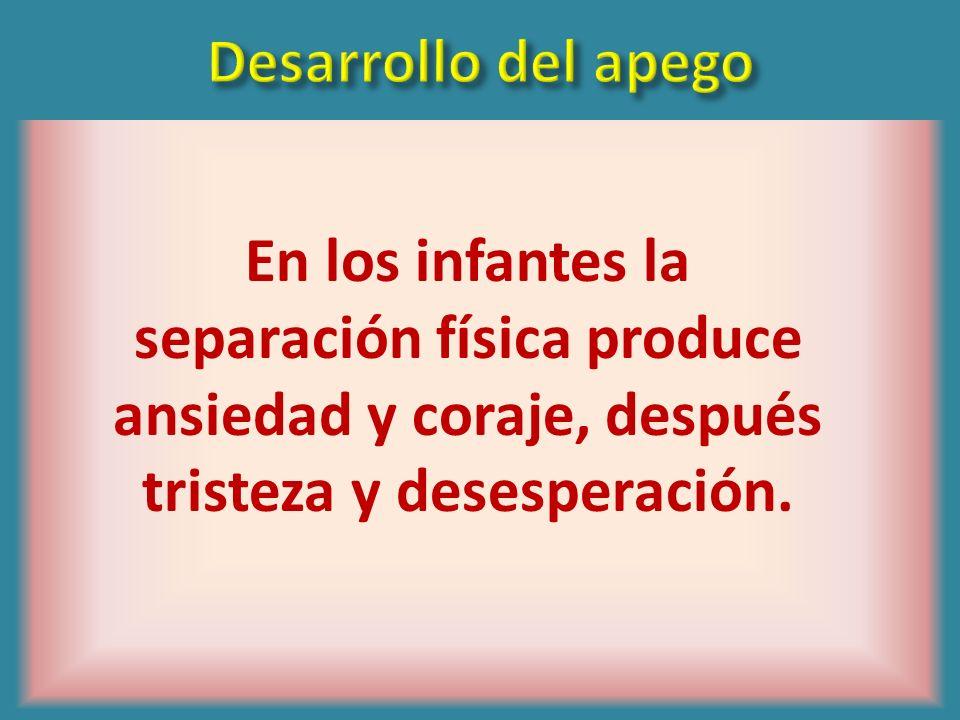 Desarrollo del apegoEn los infantes la separación física produce ansiedad y coraje, después tristeza y desesperación.