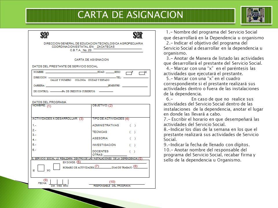 CARTA DE ASIGNACION 1.- Nombre del programa del Servicio Social que desarrollará en la Dependencia u organismo.