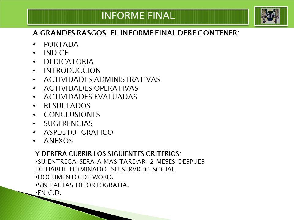 INFORME FINAL A GRANDES RASGOS EL INFORME FINAL DEBE CONTENER: PORTADA