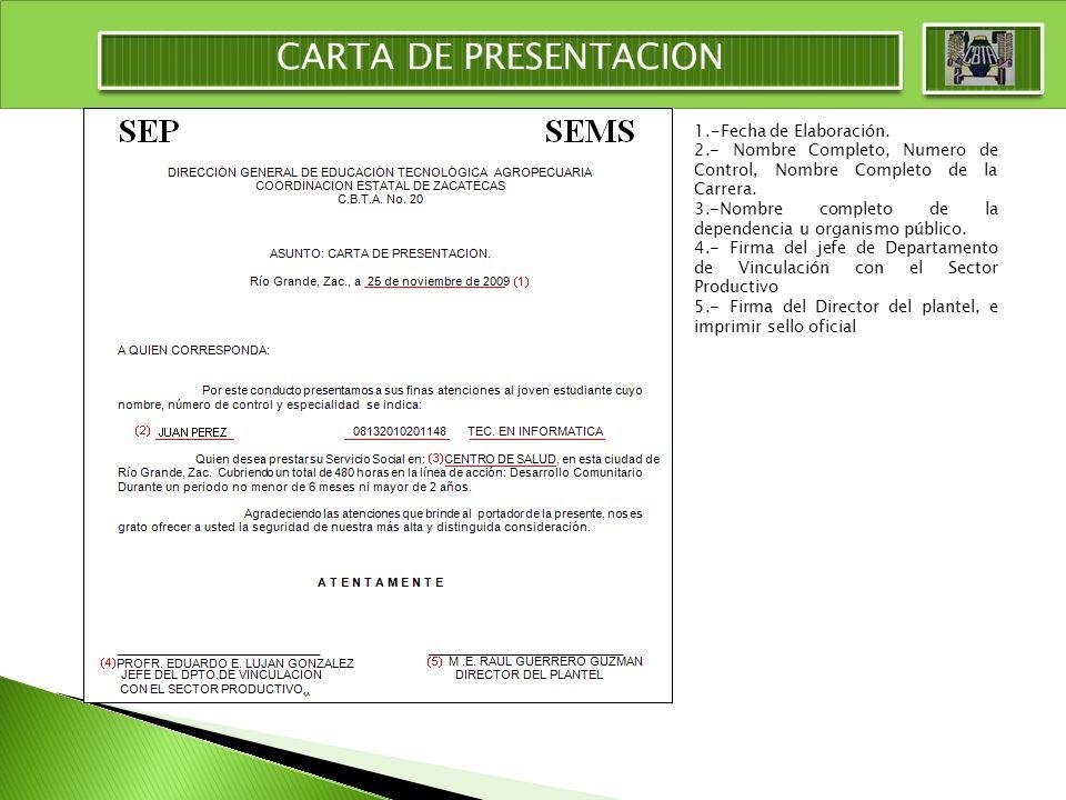 CARTA DE PRESENTACION 1.-Fecha de Elaboración.