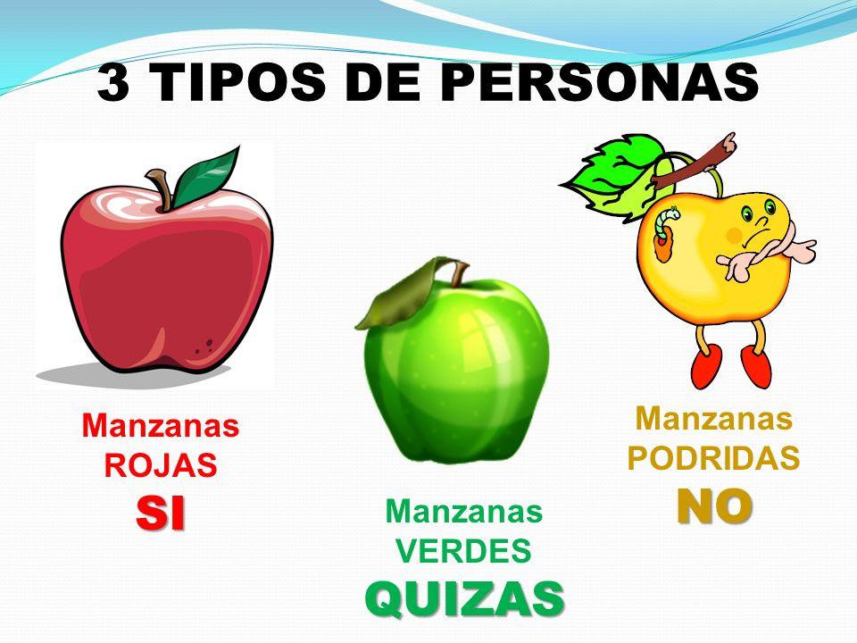 3 TIPOS DE PERSONAS NO SI QUIZAS Manzanas Manzanas ROJAS PODRIDAS