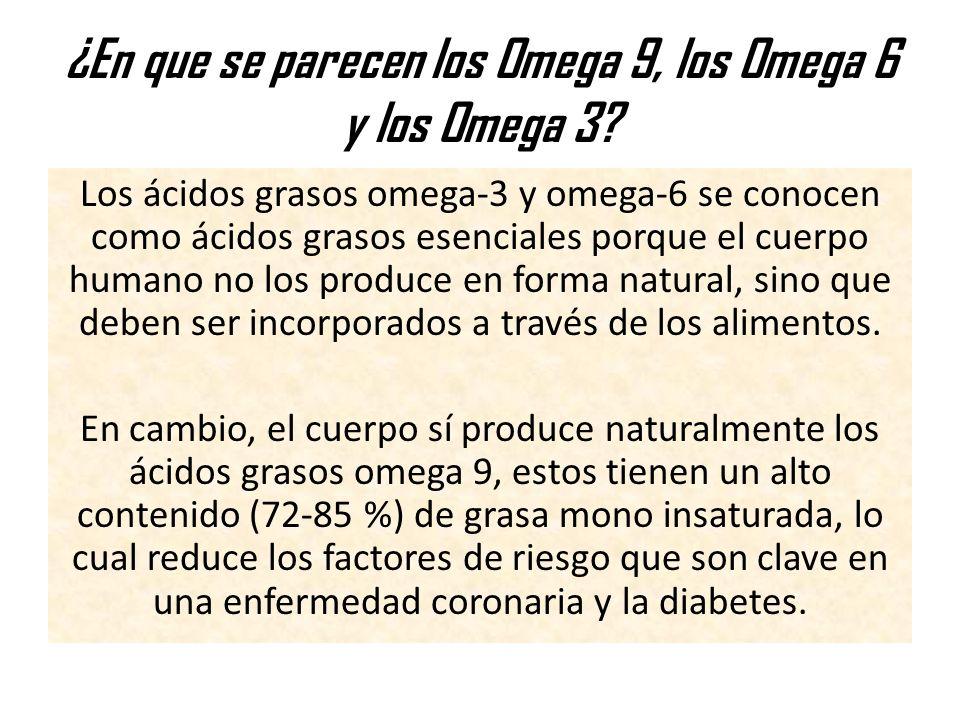¿En que se parecen los Omega 9, los Omega 6 y los Omega 3