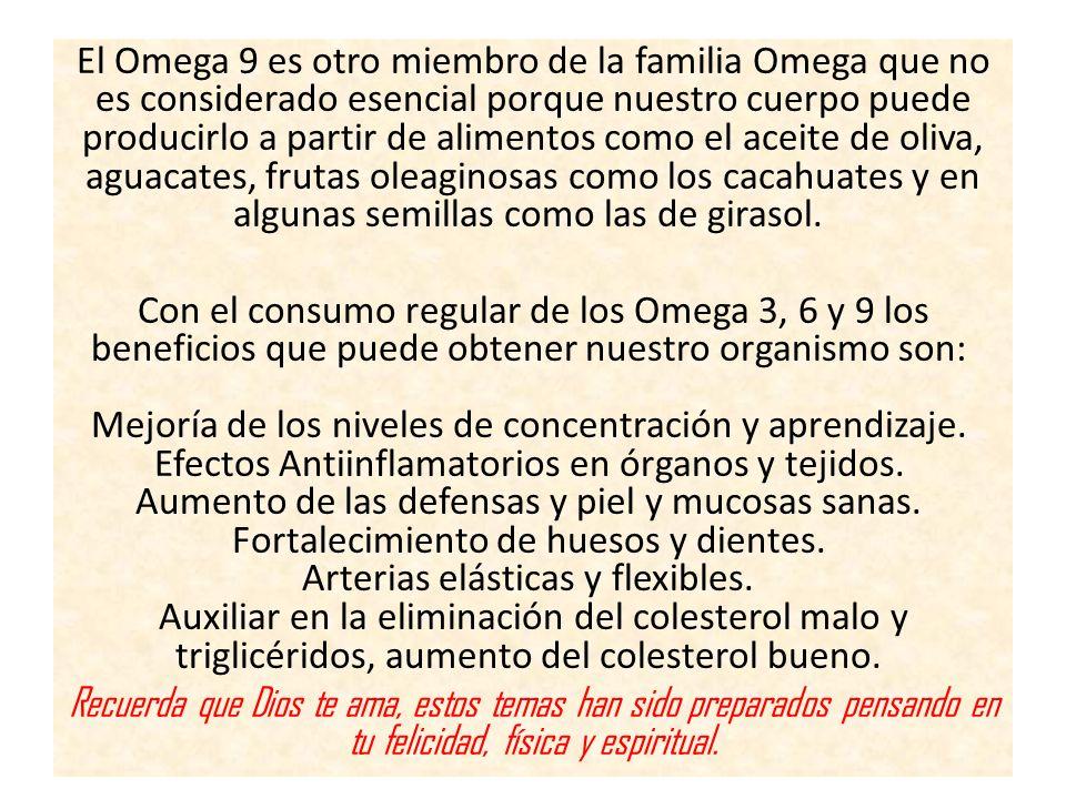 El Omega 9 es otro miembro de la familia Omega que no es considerado esencial porque nuestro cuerpo puede producirlo a partir de alimentos como el aceite de oliva, aguacates, frutas oleaginosas como los cacahuates y en algunas semillas como las de girasol.