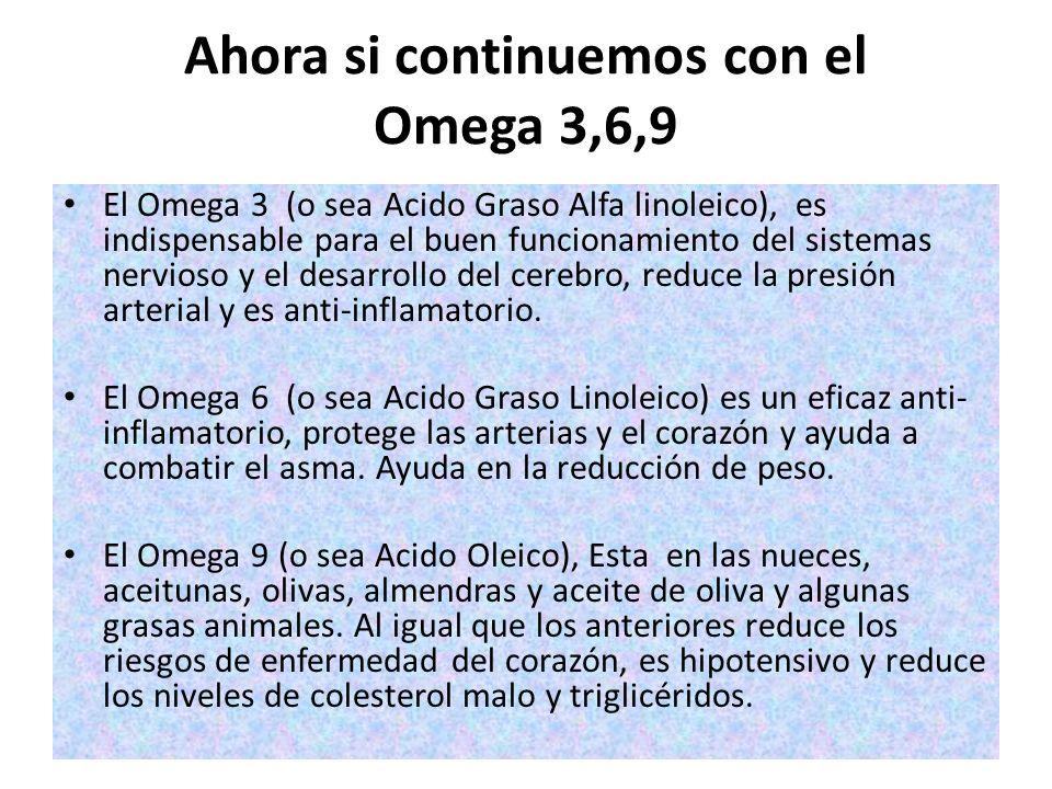 Ahora si continuemos con el Omega 3,6,9