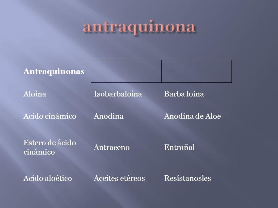 antraquinona Antraquinonas Aloína Isobarbaloína Barba loina