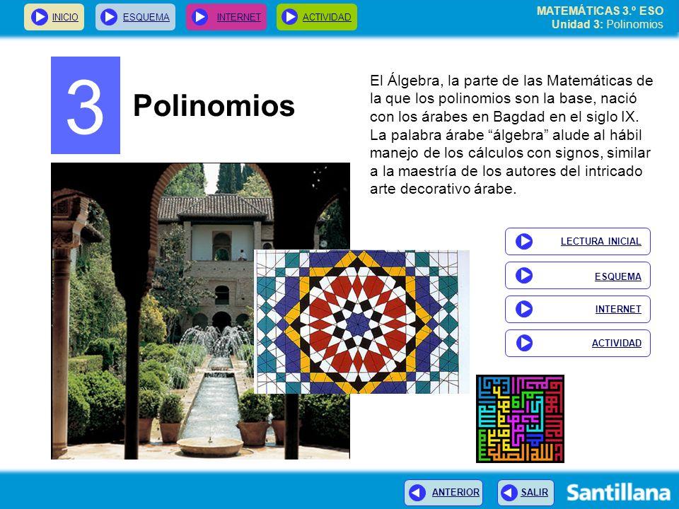MATEMÁTICAS 3.º ESO Unidad 3: Polinomios
