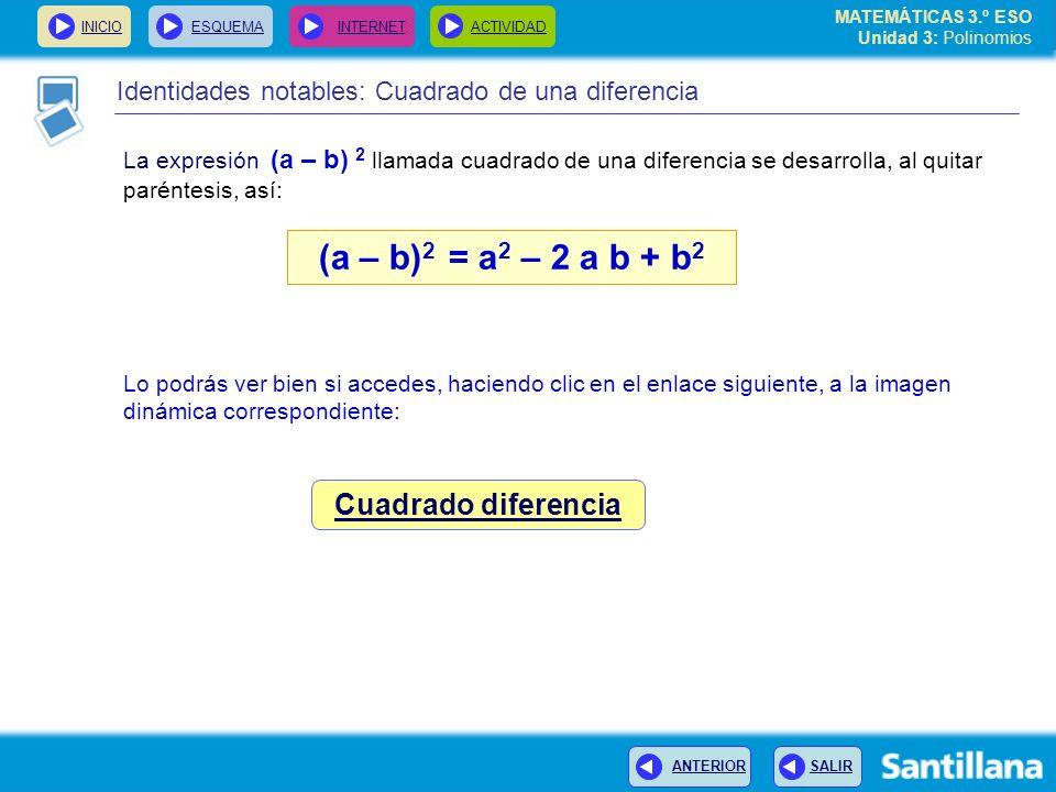(a – b)2 = a2 – 2 a b + b2 Cuadrado diferencia