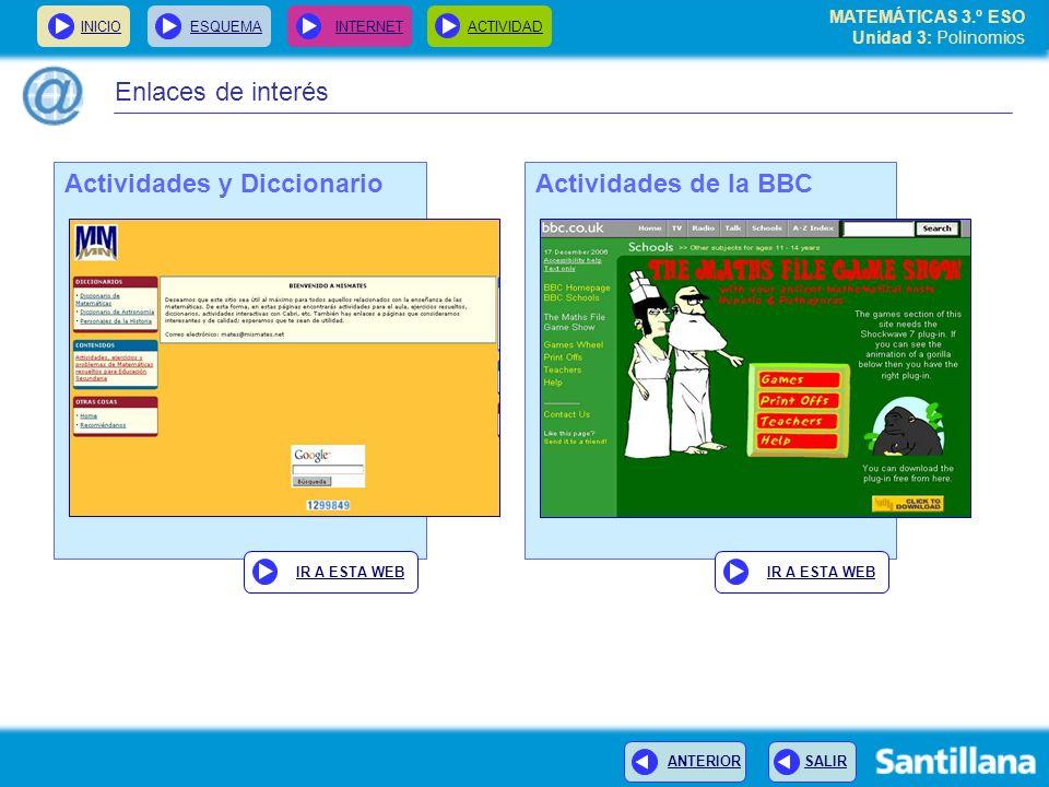 Actividades y Diccionario Actividades de la BBC
