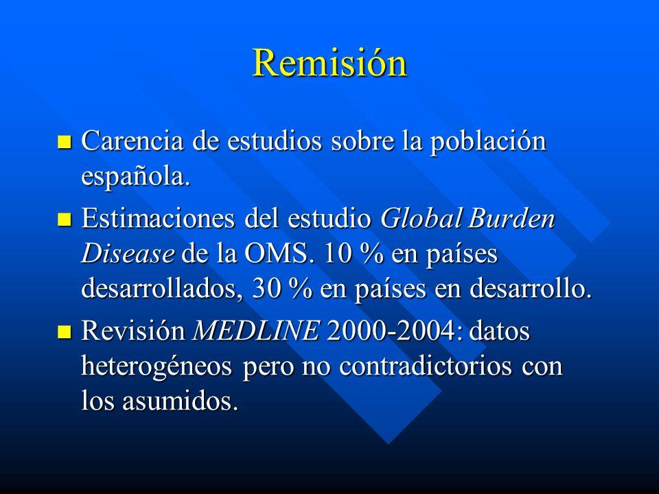 Remisión Carencia de estudios sobre la población española.