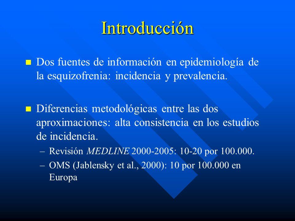 Introducción Dos fuentes de información en epidemiología de la esquizofrenia: incidencia y prevalencia.