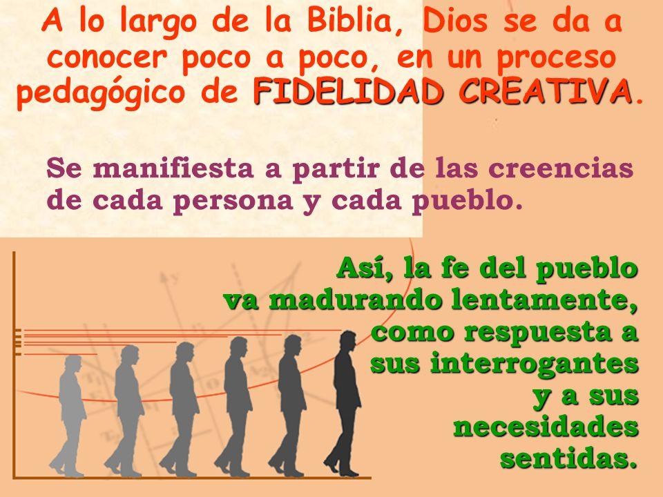 A lo largo de la Biblia, Dios se da a conocer poco a poco, en un proceso pedagógico de FIDELIDAD CREATIVA.