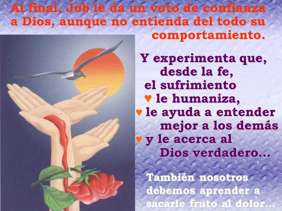 Y experimenta que, desde la fe, el sufrimiento ♥ le humaniza,