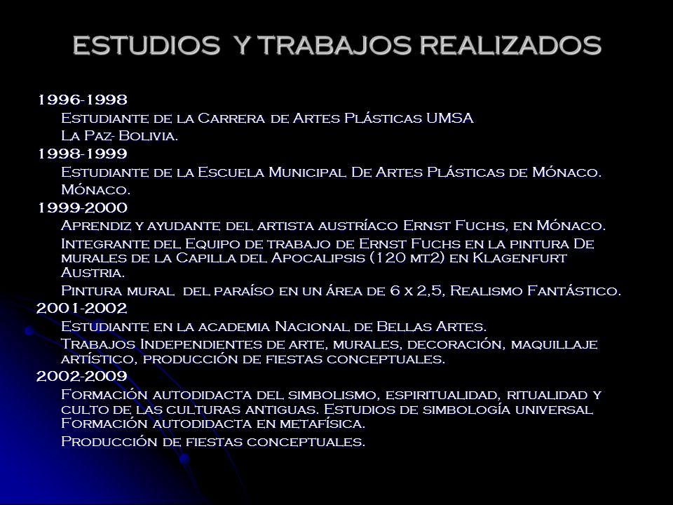 ESTUDIOS Y TRABAJOS REALIZADOS