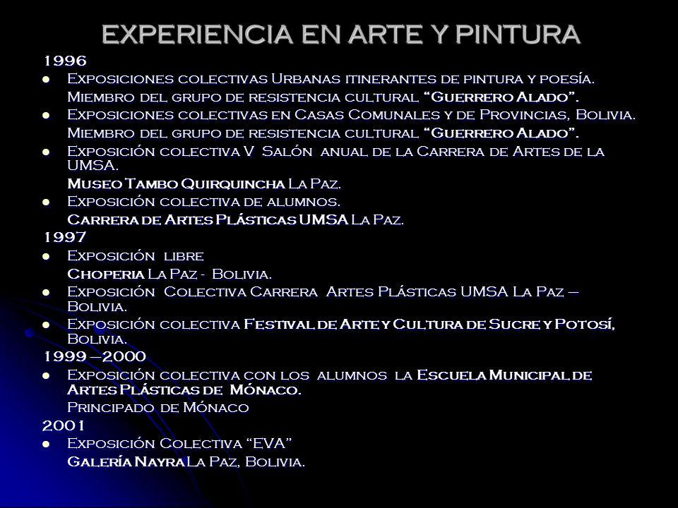 EXPERIENCIA EN ARTE Y PINTURA
