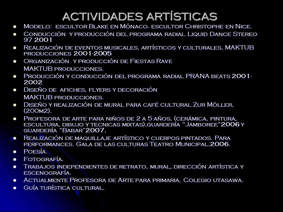 ACTIVIDADES ARTÍSTICAS