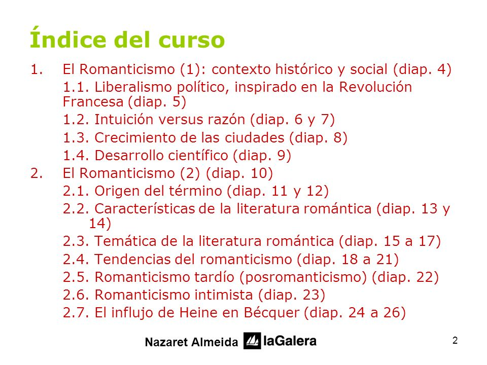 Índice del curso El Romanticismo (1): contexto histórico y social (diap. 4) 1.1. Liberalismo político, inspirado en la Revolución Francesa (diap. 5)