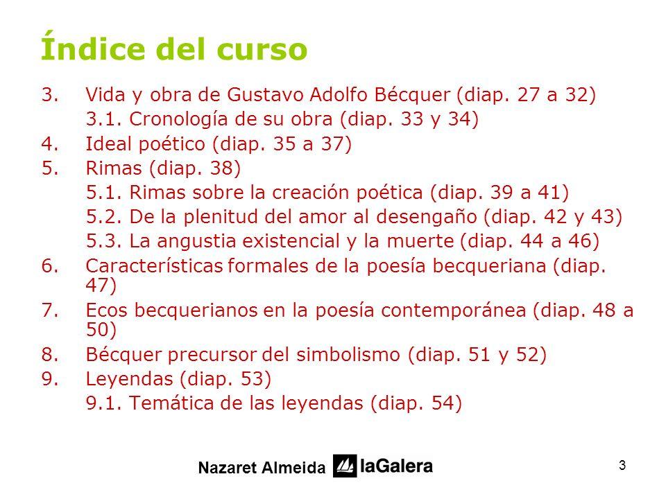 Índice del curso Vida y obra de Gustavo Adolfo Bécquer (diap. 27 a 32)