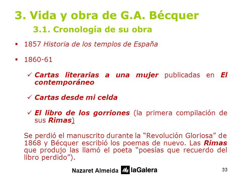 3. Vida y obra de G.A. Bécquer 3.1. Cronología de su obra