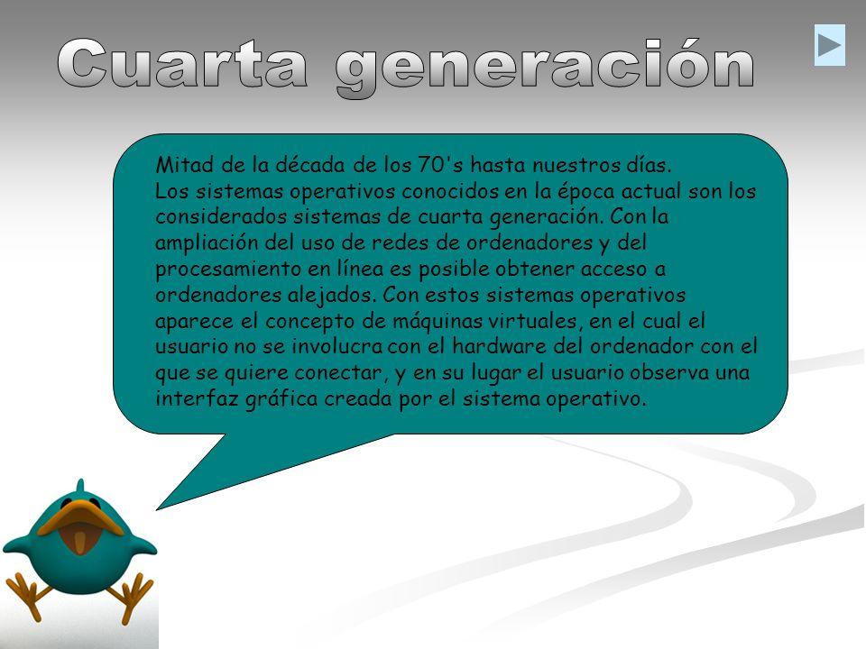 Cuarta generación Mitad de la década de los 70 s hasta nuestros días.