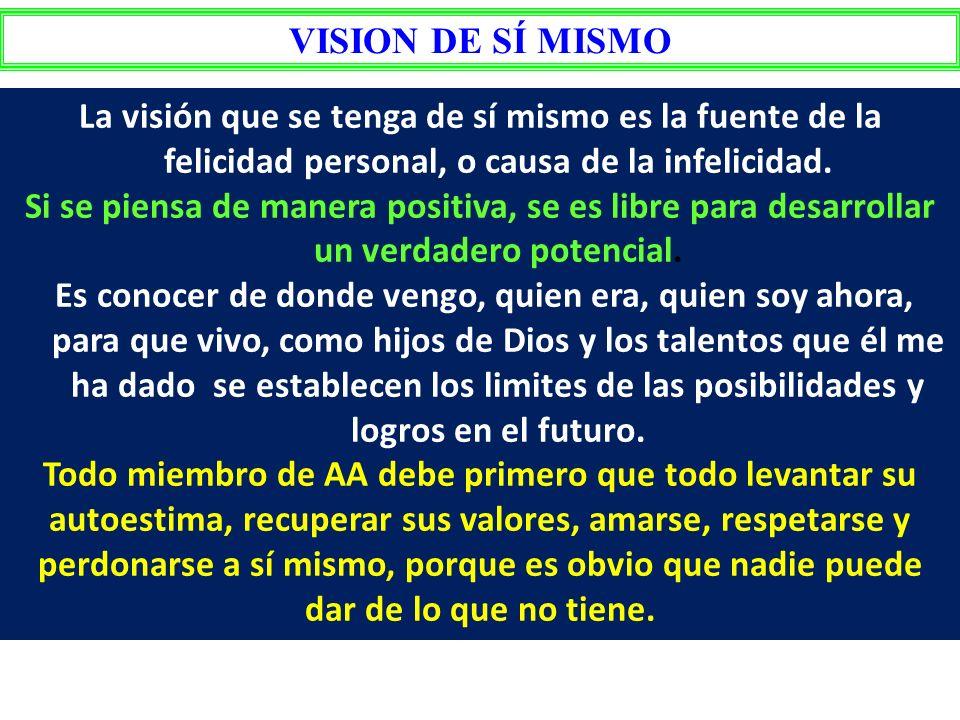 VISION DE SÍ MISMO La visión que se tenga de sí mismo es la fuente de la felicidad personal, o causa de la infelicidad.