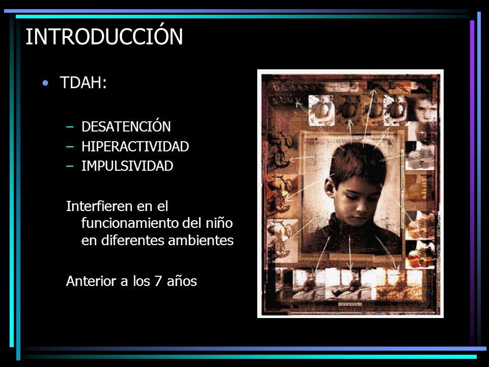 INTRODUCCIÓN TDAH: DESATENCIÓN. HIPERACTIVIDAD. IMPULSIVIDAD. Interfieren en el funcionamiento del niño en diferentes ambientes.