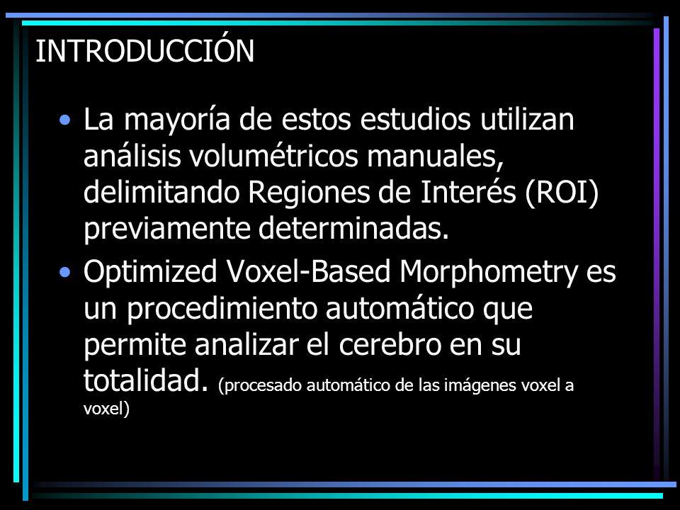 INTRODUCCIÓN La mayoría de estos estudios utilizan análisis volumétricos manuales, delimitando Regiones de Interés (ROI) previamente determinadas.