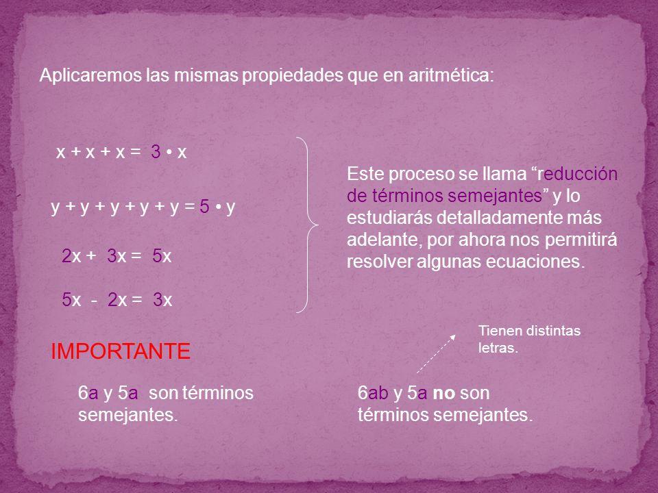 IMPORTANTE Aplicaremos las mismas propiedades que en aritmética: