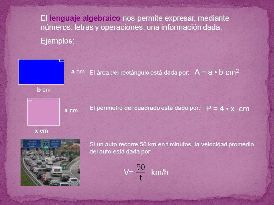 El lenguaje algebraico nos permite expresar, mediante números, letras y operaciones, una información dada.