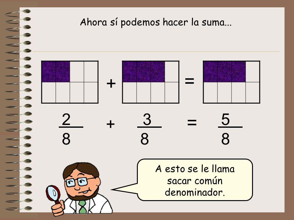 = + = 2 3 5 + 8 8 8 Ahora sí podemos hacer la suma...