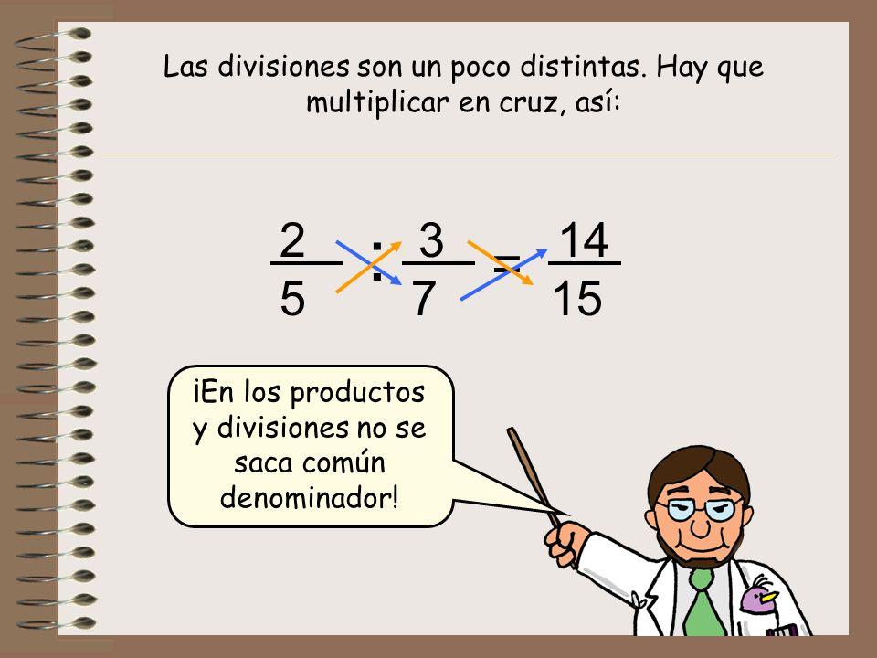¡En los productos y divisiones no se saca común denominador!