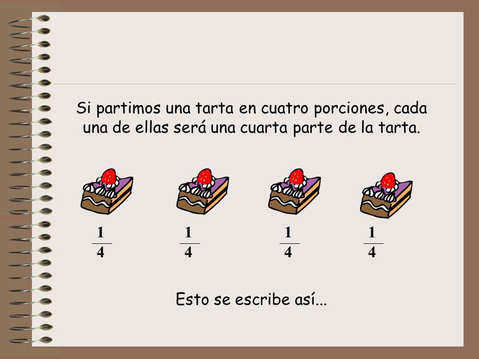 Si partimos una tarta en cuatro porciones, cada una de ellas será una cuarta parte de la tarta.