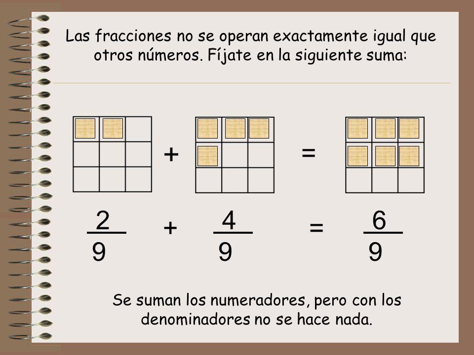 Se suman los numeradores, pero con los denominadores no se hace nada.