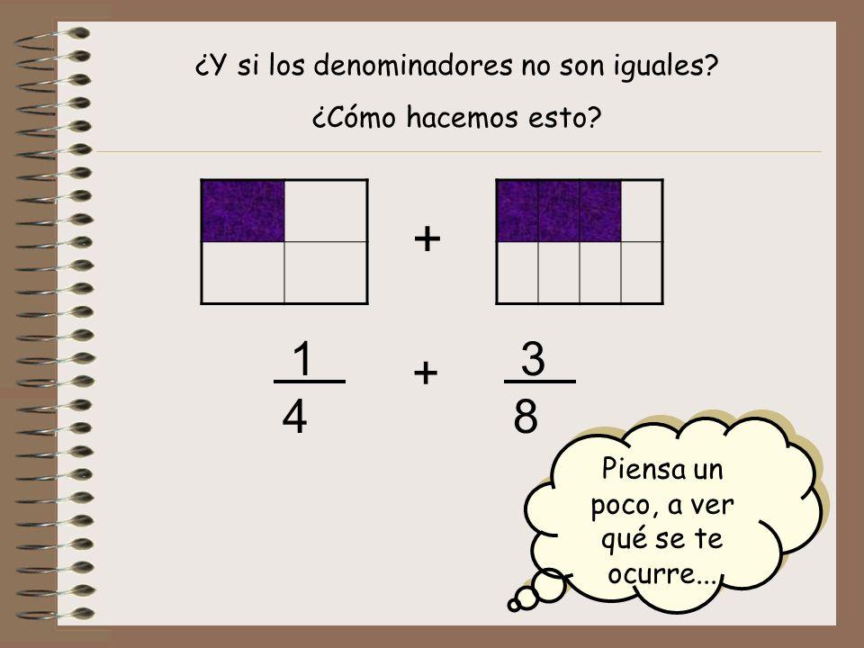 + 1 3 + 4 8 ¿Y si los denominadores no son iguales