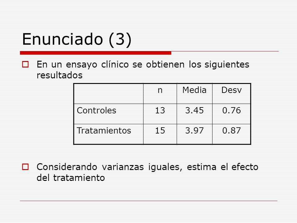 Enunciado (3) En un ensayo clínico se obtienen los siguientes resultados. Considerando varianzas iguales, estima el efecto del tratamiento.