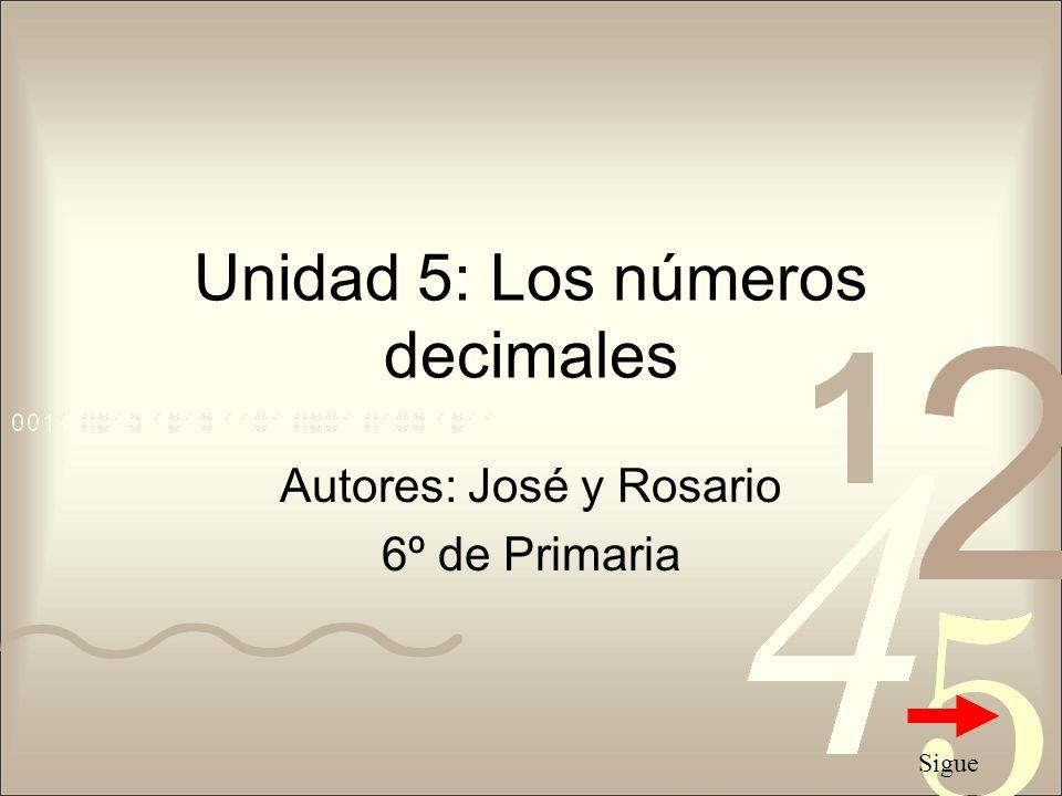 Unidad 5: Los números decimales
