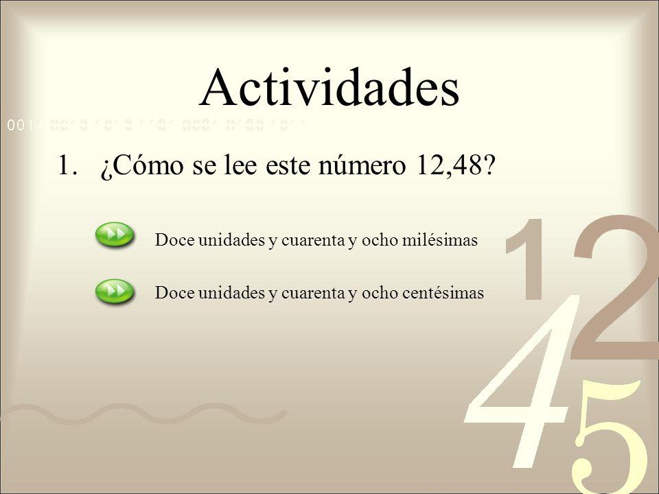 Actividades ¿Cómo se lee este número 12,48