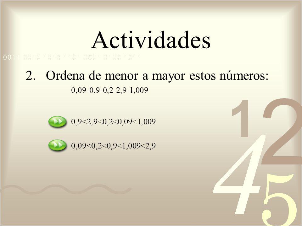 Actividades Ordena de menor a mayor estos números: