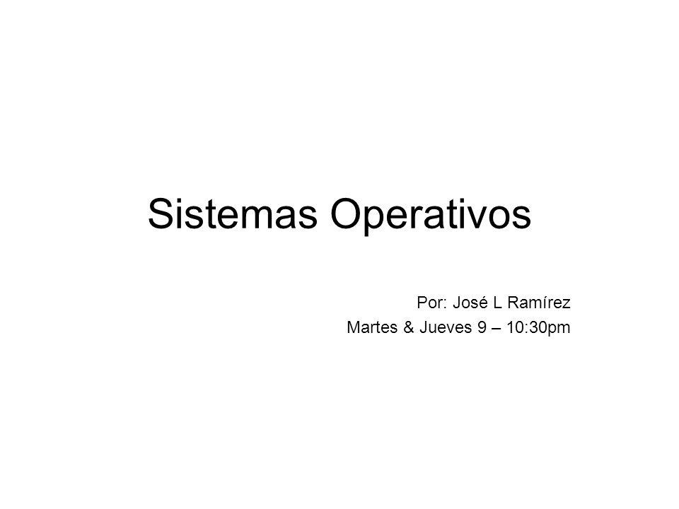 Por: José L Ramírez Martes & Jueves 9 – 10:30pm