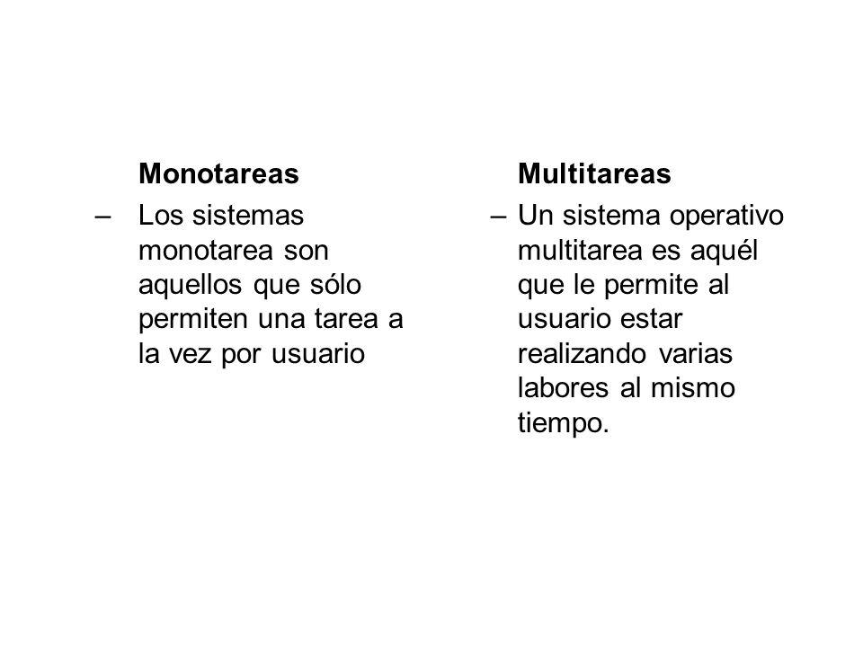 Monotareas Los sistemas monotarea son aquellos que sólo permiten una tarea a la vez por usuario. Multitareas.