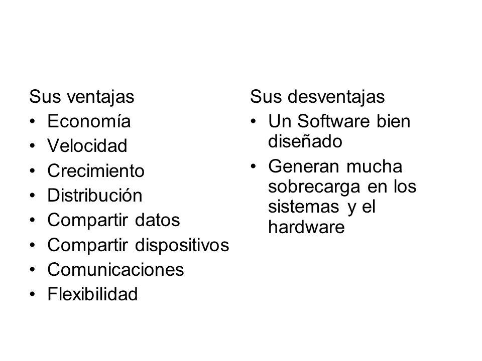 Sus ventajas Economía. Velocidad. Crecimiento. Distribución. Compartir datos. Compartir dispositivos.
