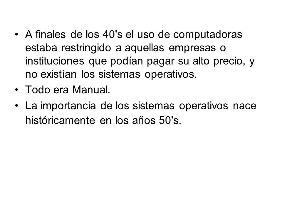 A finales de los 40 s el uso de computadoras estaba restringido a aquellas empresas o instituciones que podían pagar su alto precio, y no existían los sistemas operativos.