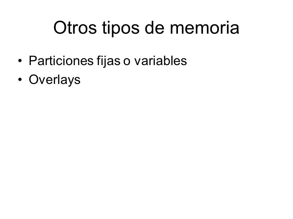 Otros tipos de memoria Particiones fijas o variables Overlays