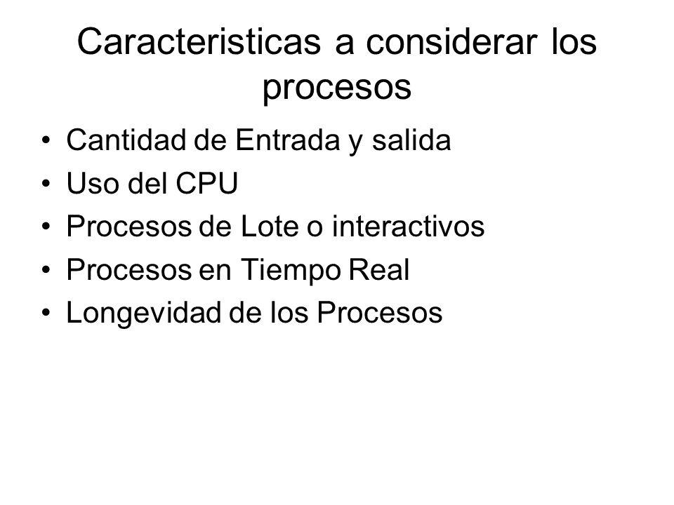Caracteristicas a considerar los procesos