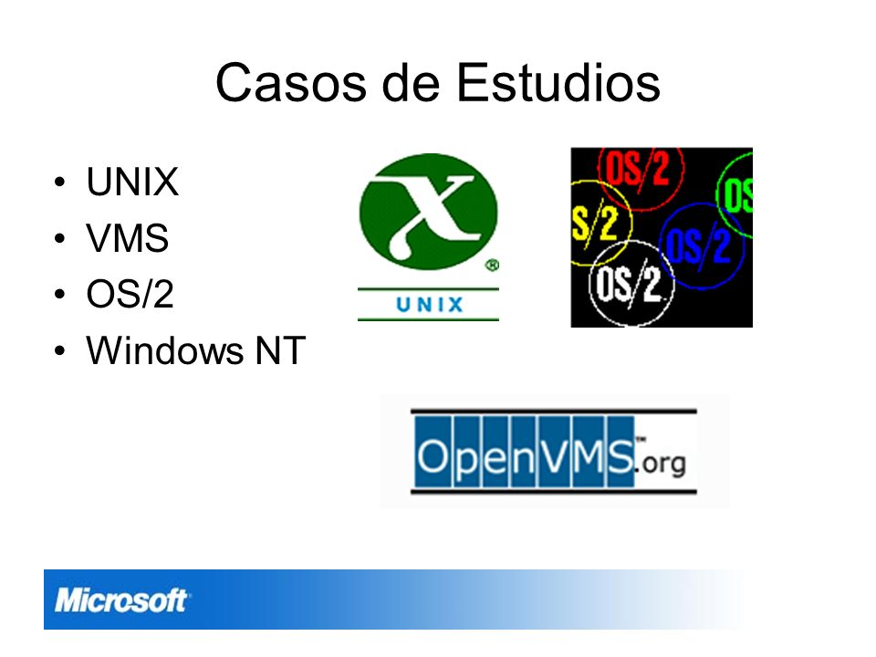 Casos de Estudios UNIX VMS OS/2 Windows NT