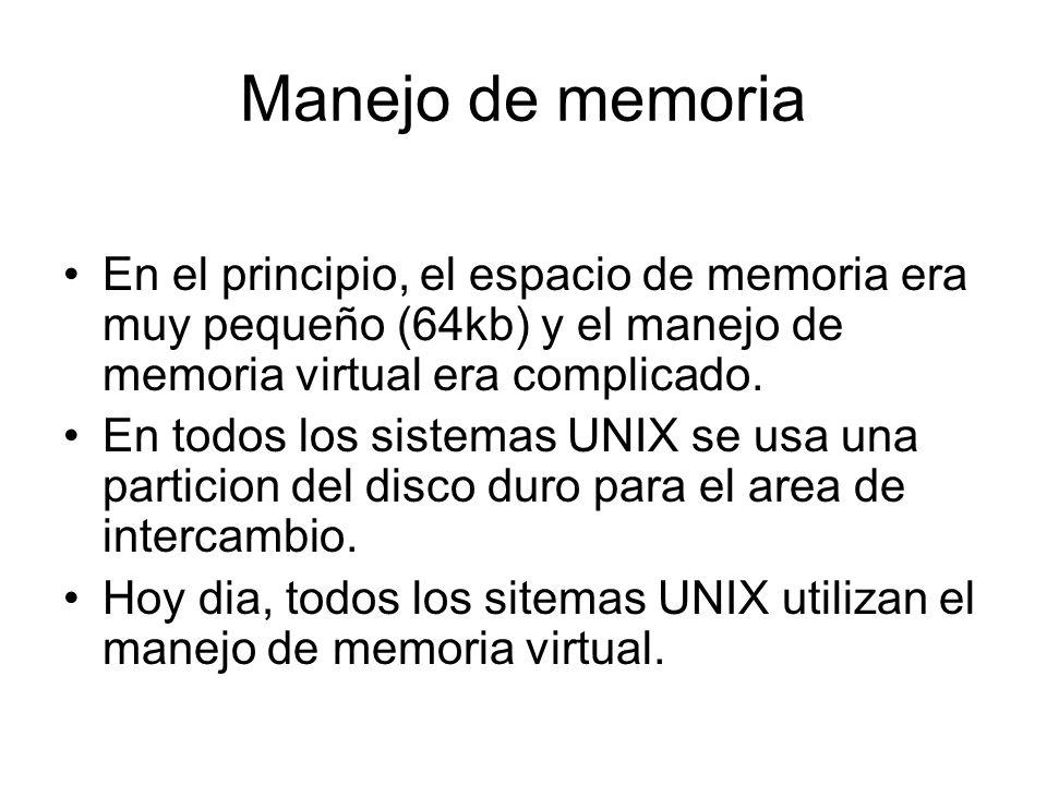 Manejo de memoria En el principio, el espacio de memoria era muy pequeño (64kb) y el manejo de memoria virtual era complicado.